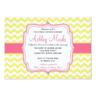 Yellow and Pink Chevron Invitation