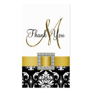 Yellow, Black Damask Wedding Thank You Business Card