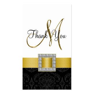Yellow, Black White Damask Gold Wedding Thank You Business Card