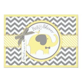 "Yellow Elephant Bow Tie Chevron Print Baby Shower 5"" X 7"" Invitation Card"