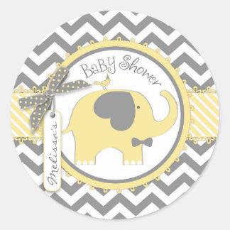 Yellow Elephant Bow-tie Chevron Print Baby Shower Round Sticker