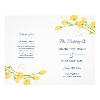 Yellow Garden Roses with navy text wedding program Personalized Flyer