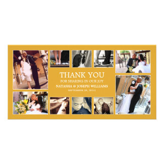 YELLOW GOLD COLLAGE   WEDDING THANK YOU CARD PHOTO CARDS