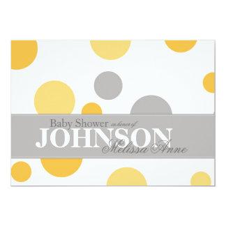 Yellow Grey Big Dots Baby Shower Invitation Card
