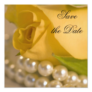 "Yellow Rose and Pearls Wedding Save the Date 5.25"" Square Invitation Card"