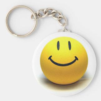 Yellow Smiley Ball Globe Smile Love Happiness Joy Basic Round Button Keychain