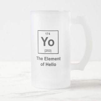 Yo! The Element of Hello 16 Oz Frosted Glass Beer Mug