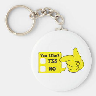 YOU LIKE? yes or no Basic Round Button Keychain