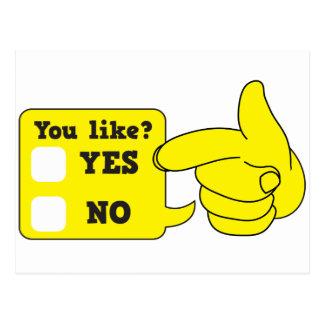 YOU LIKE? yes or no Postcard
