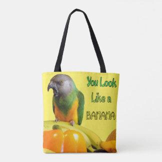 You Look Like a Banana Senegal Parrot and Fruit Tote Bag