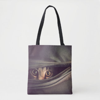 Young Tabby Kitten Looking Out From Zip Up Bag