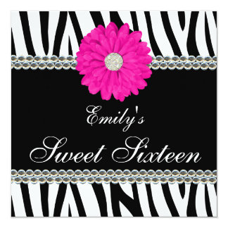 "Zebra Pink Daisy Gems Sweet 16 Birthday 5.25"" Square Invitation Card"