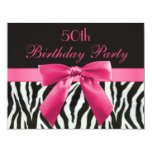 "Zebra Stripes & Hot Pink Printed Bow 50th Birthday 4.25"" X 5.5"" Invitation Card"