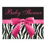 "Zebra Stripes & Pink Printed Bow Baby Shower 4.25"" X 5.5"" Invitation Card"