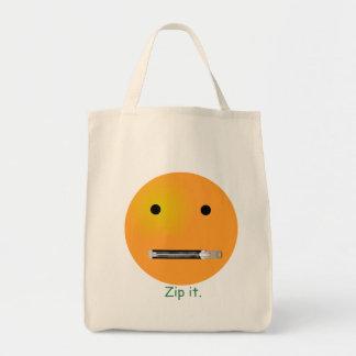 Zip It Smiley Face Emoticon Grocery Tote Bag