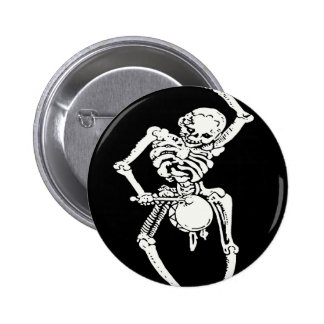Zombie Undead Skeleton Marching and Beating A Drum 2 Inch Round Button